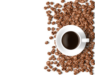 top view of coffee cup and coffee beans on white background