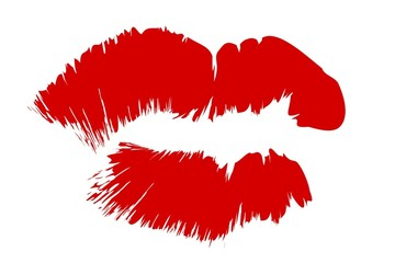 Red kissing lips illustration clipart