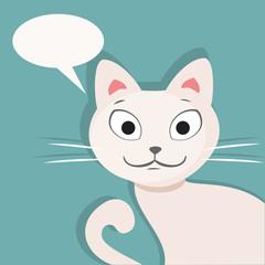 Printed kitchen splashbacks Cats White cat. Flat vector illustration