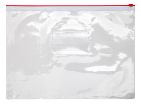 Plastic transparent zipper bag isolated on white background