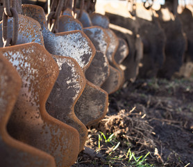 Disc harrows. Close up.
