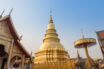 Temple Phra That Hariphunchai in Lamphum, Province Chang Mai, Th