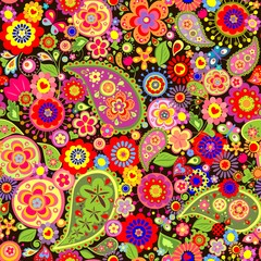 Colorful wallpaper with funny spring flowers