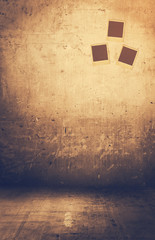 Grunge rusty interior with photos