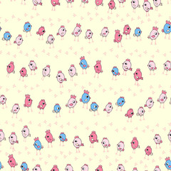 cute little chicks seamless pattern