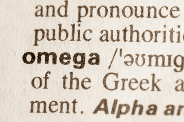 Dictionary definition of word omega