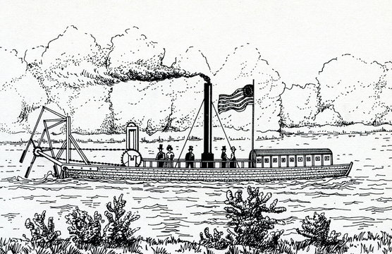Steamboat with stern mounted oars by John Fitch