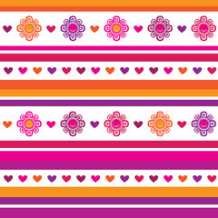 Horizontal seamless floral pattern. Flowers and hearts.