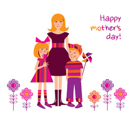 Happy Mother's Day. Greeting card. Congratulation.