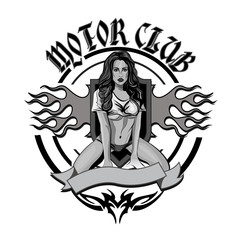 Vintage motorcycle garage motor club emblem with sexy  girl