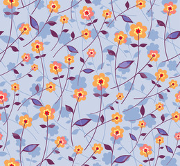 Simple Flowers. Seamless pattern.