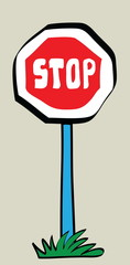 cartoon stop road traffic sign