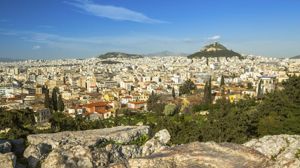 Top view of the Athens and Lycabettus Hill in Greece.