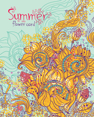 Summer card in vector. Hand Drawn sunflowers.