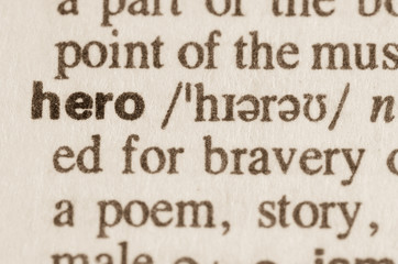 Dictionary definition of word hero