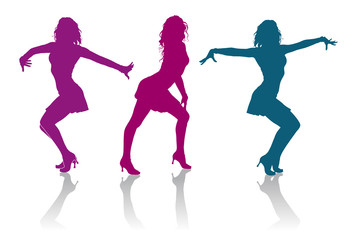 Silhouettes of girls dancing ladies dance