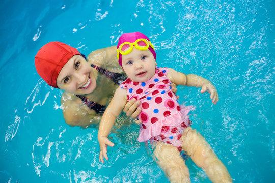 baby girl  swimming