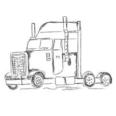 truck, sketch, hand, drawings, vector, illustration