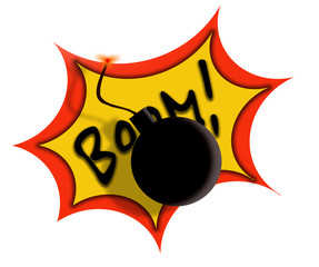 Black cartoon bomb isolated on white background.
