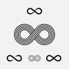 Set of infinity symbols, vector illustration