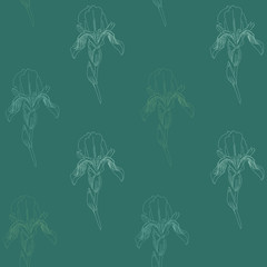 Pale Iris flowers on green background. Simple seamless pattern.