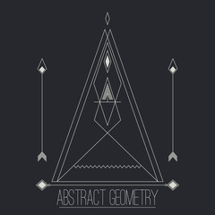 Simple separate abstract geometric figure with lines, arrow, cir