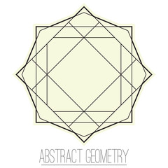 Abstract geometric figure with rhombus, triangle, square