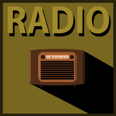 vintage radio with shadow