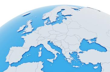 Obraz Erde Europa Länder - hellgrau blau - fototapety do salonu