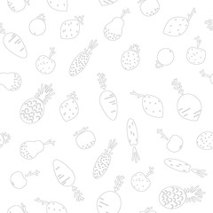 Fruit and vegetables, seamless pattern, outline