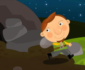 Cartoon funny scene with man traveling at night - brave smiling and traveling - illustration for children