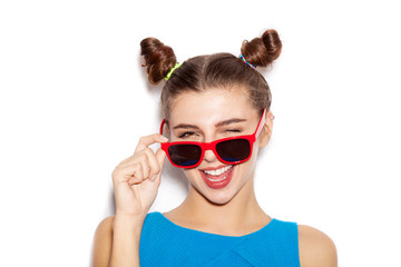 Surprised Beauty  Brunette Woman in sunglasses