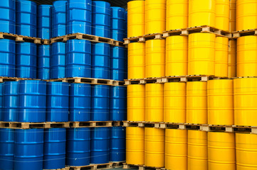 Blue and yellow oil drums