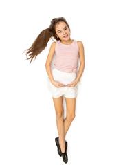 Isolated photo of cute brunette girl dancing ballet