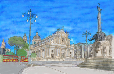 Painting of Catania's main square