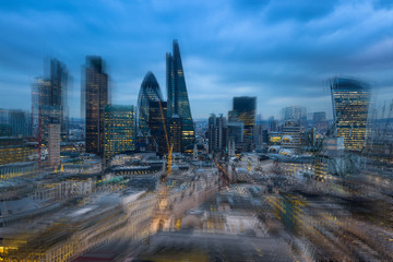 Motion effect image. City of London aria in dusk. UK