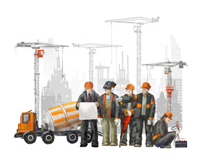 Builders on the building site, cranes and concrete mixer machine