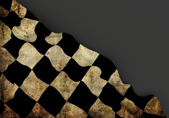 Race 3d corner flag overlaid with grunge texture