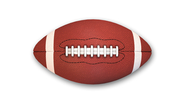 American Football isolated on white background, top view