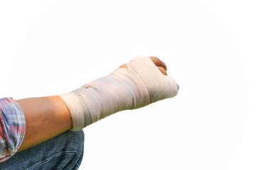 Splint broken bone  hand Injured