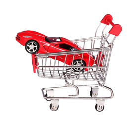 car in shopping cart concept isolated on white background