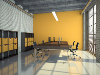 Loft office interior 3D rendering