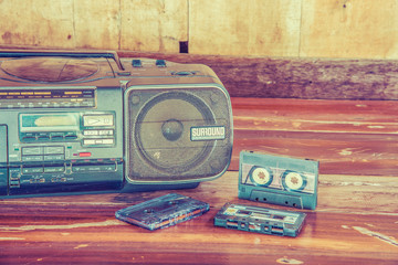 old cassette tape and player ,vintage style