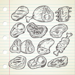 Set of meat in doodle style