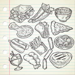 Set of various food in sketchy style