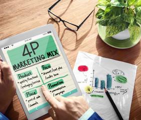 Digital Onine 4P Marketing Mix Office Working Concept