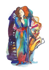 Young woman singing and saxophonist