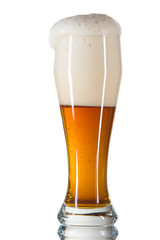 beer poured into a glass