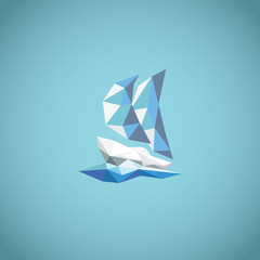 Low polygonal yacht symbol on blue background with waves. Modern