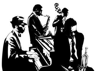 Etiqueta Engomada - Jazz poster with saxophone, double-bass, piano and trumpet